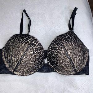 Victoria's Secret black push up lace bra 32C